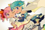 2girls :o ;d backlighting bare_shoulders blue_eyes blue_footwear blue_hair blue_skirt blurry blurry_background blush boots bubble_skirt cape cheek-to-cheek choker clothes_lift depth_of_field detached_sleeves dutch_angle feet_out_of_frame floating_hair fortissimo fortissimo_hair_ornament frilled_skirt frilled_sleeves frills gloves grey_background hair_ornament hair_ribbon hairclip hands_together happy holding_hands interlocked_fingers kaname_madoka kirikuchi_riku light_particles looking_at_another looking_at_viewer mahou_shoujo_madoka_magica miki_sayaka multiple_girls no_nose one_eye_closed open_mouth pink_hair pleated_skirt puffy_short_sleeves puffy_sleeves red_choker red_neckwear red_ribbon ribbon shiny shiny_hair short_hair short_sleeves short_twintails shoulder_blush simple_background skirt smile strapless surprised thigh-highs thighs twintails upper_body v-shaped_eyebrows white_cape white_gloves white_legwear white_skirt zettai_ryouiki