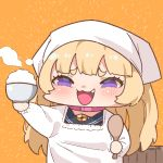 1girl :3 alternate_costume apron azur_lane bache_(azur_lane) blonde_hair bowl chibi choker commentary fang head_scarf holding holding_bowl holding_spoon long_hair open_mouth orange_background pink_choker rice_bowl rice_spoon simple_background smile solo spoon takatoo_kurosuke two_side_up upper_body violet_eyes