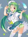 1girl ;d ahoge ass azur_lane bangs beret black_choker blue_neckwear blue_skirt blush choker collared_shirt comet comet_(azur_lane) commentary_request corset cowboy_shot cropped_jacket eyebrows_visible_through_hair frilled_skirt frills gradient_neckwear green_hair green_neckwear green_panties grey_background hair_between_eyes hair_rings hat jacket long_hair looking_at_viewer necktie one_eye_closed open_clothes open_jacket open_mouth panties pantyshot plaid plaid_skirt puffy_short_sleeves puffy_sleeves ribbon shirt short_sleeves sidelocks skirt smile solo standing star starry_background thigh-highs tilted_headwear twintails twisted_torso underwear upper_teeth v_over_eye violet_eyes white_headwear white_jacket white_legwear white_shirt youhei_64d