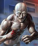 1boy bald crystal_boy looking_at_viewer male_focus matataku muscle open_mouth solo space_adventure_cobra