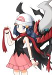 1girl absurdres beanie bracelet commentary_request creature darkrai dress flat_chest gen_4_pokemon hat highres hikari_(pokemon) jewelry korean_commentary looking_at_viewer pokemon pokemon_(creature) pokemon_(game) pokemon_dppt red_scarf scarf standing tlskahs white_headwear