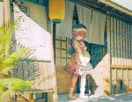 1girl architecture bobby_socks day east_asian_architecture finger_to_chin furahata_gen holding holding_tray lantern long_sleeves looking_at_viewer noren okunoda_miyoi outdoors paper_lantern pink_hair pink_skirt plant shadow shirt short_hair sign skirt smile socks solo storefront touhou tray whale whale_hat white_footwear white_legwear white_shirt yellow_eyes