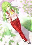 1girl aka_tawashi belt black_footwear collar flower full_body grass green_eyes green_hair highres kazami_yuuka long_hair long_sleeves outdoors pants parasol plaid plaid_pants plaid_vest road shirt shoes smile solo touhou touhou_(pc-98) umbrella vest walking white_collar white_shirt yellow_neckwear