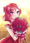 1girl 2020 bangs blush bouquet bow braid closed_mouth commentary_request dress eyebrows_visible_through_hair flower hair_between_eyes hair_bow highres holding holding_bouquet long_hair love_live! love_live!_school_idol_project mono_land nishikino_maki pleated_dress red_bow red_flower red_rose redhead rose signature smile solo sparkle_background striped striped_bow swept_bangs violet_eyes