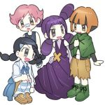 4girls :d black_eyes black_hair brown_eyes brown_hair commentary_request dawnlover_01 dress green_footwear gym_leader korean_commentary long_hair lowres melissa_(pokemon) multiple_girls natane_(pokemon) open_mouth pink_eyes pink_hair pokemon pokemon_(game) pokemon_dppt purple_dress purple_hair shoes short_hair simple_background smile sumomo_(pokemon) suzuna_(pokemon) tied_hair violet_eyes white_background