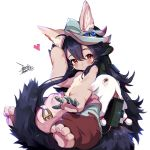 1girl ahoge animal_ears blush breasts commentary_request cosplay dated ejami ekko_(ejami) fox_tail furry hair_between_eyes looking_at_viewer made_in_abyss nanachi_(made_in_abyss) nanachi_(made_in_abyss)_(cosplay) original signature simple_background sitting_on_tail small_breasts smile solo tagme tail white_background
