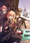 3girls absurdres ah-1z_viper ammunition ammunition_belt anti-rain_(girls_frontline) ar-15 assault_rifle bandana behalter browning_m3 city cityscape commentary eyepatch girls_frontline gloves gun highres huge_filesize knee_pads m16a1_(girls_frontline) m4_carbine m4_sopmod_ii m4_sopmod_ii_(girls_frontline) machine_gun multiple_girls pose rifle river scope ship smile st_ar-15_(girls_frontline) suppressor v watercraft waving weapon