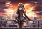 absurdres black_gloves black_skirt brown_eyes brown_hair clming clouds cloudy_sky commentary dusk english_commentary eyebrows_visible_through_hair fingerless_gloves girls_frontline gloves hair_between_eyes highres jacket leaning_on_rail long_hair long_sleeves looking_at_viewer one_side_up open_clothes open_jacket pantyhose pleated_skirt scar scar_across_eye shirt skirt sky skyline smile ump45_(girls_frontline) white_shirt yellow_eyes