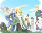 arms_behind_head back-to-back bandana blonde_hair blue_eyes blue_hair blush crossed_legs crossover digimon digimon_adventure_02 digimon_frontier digimon_savers digimon_tamers gaomon garmmon gloves grass grey_eyes hand_on_hip headband holding ichijouji_ken ishida_yamato kurot leafmon leg_up li_jenrya male metalgarurumon minamoto_kouji multiple_boys open_clothes open_shirt outdoors pants shirt sitting smile terriermon touma_h._norstein touma_norstein v-neck wristband