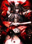 alucard_(hellsing) banpai_akira black_hair crazy_eyes cross dual_persona dual_wielding fur_hat genderswap girlycard gloves glowing glowing_eyes gun handgun hat hellsing hellsing:_the_dawn long_coat long_hair mouth_hold necktie pistol vampire weapon white_gloves