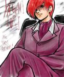 formal king_of_fighters male male_only red_hair redhead sitting snk suit yagami_iori