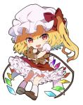 1girl blonde_hair bow brown_footwear chibi commentary crystal doll_hug fang flandre_scarlet frills full_body hat hat_bow highres light_blush long_hair looking_at_viewer mob_cap open_mouth pigeon-toed red_bow red_eyes red_skirt red_vest satoupote shirt short_sleeves sidelocks simple_background skin_fang skirt smile socks solo stuffed_animal stuffed_toy teddy_bear touhou vest white_background white_headwear white_legwear white_shirt wings