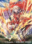 1girl axe cape company_name copyright_name edelgard_von_hresvelg fire_emblem fire_emblem:_three_houses fire_emblem_cipher full_body grass headpiece holding holding_axe horns nagahama_megumi official_art open_mouth solo violet_eyes white_hair