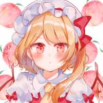1girl :t bangs blonde_hair blush bow closed_mouth collared_shirt eyebrows_visible_through_hair flandre_scarlet food frilled_shirt_collar frills fruit hat long_hair looking_at_viewer mob_cap moko_(3886397) one_side_up peach pout puffy_short_sleeves puffy_sleeves red_bow red_eyes red_vest shirt short_sleeves solo touhou translation_request upper_body v-shaped_eyebrows vest white_background white_headwear white_shirt yellow_neckwear