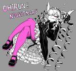1girl bubble demon_girl demon_horns drill_hair gothic_lolita highres horns juugoya_(zyugoya) limited_palette lolita_fashion musuko_ga_kawaikute_shikatanai_mazoku_no_hahaoya nightmare_(musuko_ga_kawaikute_shikatanai_mazoku_no_hahaoya) saliva sleeping white_horns zzz