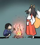 2girls animal_ears asakusa_midori eizouken_ni_wa_te_wo_dasu_na! fire fox_ears fox_girl fox_tail full_body henriiku_(ahemaru) japanese_clothes kanamori_sayaka multiple_girls navy_blue_skirt pleated_skirt red_skirt school_uniform skirt tail