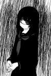 1girl closed_mouth cyclops greyscale kuronyankokko long_sleeves messy_hair monochrome neckerchief one-eyed original pale_skin ringed_eyes school_uniform serafuku solo standing