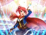 brown_eyes dress misora_kano redhead short_hair shoujo_kageki_revue_starlight smile spear