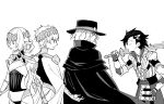 1girl 3boys back-to-back castor_(fate/grand_order) cloak edmond_dantes_(fate/grand_order) fate/grand_order fate_(series) fedora greyscale hat highres kurokiroro looking_back mandricardo_(fate/grand_order) monochrome multiple_boys over_shoulder pollux_(fate/grand_order) sword weapon weapon_over_shoulder white_background wooden_sword
