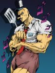 1boy araki_hirohiko_(style) bald blue_eyes buck_teeth bulge commentary english_commentary freckles hat highres humanization jin_grey_paladin jojo_no_kimyou_na_bouken jojo_pose long_nose male_focus manly muscle name_tag necktie parody pointing pointing_at_viewer pose shirt short_sleeves shorts solo spatula spongebob_squarepants spongebob_squarepants_(character) style_parody thick_thighs thighs white_shirt yellow_skin
