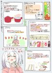 :d blush closed_eyes collared_shirt cutting_board directional_arrow food hair_ornament heart heart_in_mouth highres holding how_to lettuce medium_hair nekoume nekoume-chan_(nekoume) open_mouth original pink_sweater recipe sandwich shirt smile sweater translation_request white_hair wing_collar