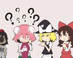 4girls ? apron ascot bandaged_arm bandages black_hair black_headwear black_skirt black_vest blonde_hair blush bow breasts brown_hair bun_cover camera chain chibi closed_mouth collared_shirt confused cowboy_shot cuffs detached_sleeves double_bun embarrassed eyebrows_visible_through_hair face_punch gomeifuku green_skirt hair_between_eyes hair_bow hair_tubes hakurei_reimu handcuffs hat hat_bow hollow_eyes ibaraki_kasen in_the_face kirisame_marisa lavender_background long_hair multiple_girls nontraditional_miko open_mouth picture_(object) pink_hair pointing punched punching red_skirt shameimaru_aya shirt short_hair simple_background skirt sweat sweatdrop sweating_profusely tabard tokin_hat touhou turtleneck vest white_shirt wing_collar witch_hat yellow_neckwear