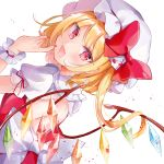 1girl :d backless_outfit bangs blonde_hair blood blush bow collared_shirt crystal dutch_angle eyebrows_visible_through_hair fang flandre_scarlet frilled_shirt_collar frills hand_up hat highres long_hair looking_at_viewer looking_back mob_cap moko_(3886397) nail_polish one_side_up open_mouth puffy_short_sleeves puffy_sleeves red_bow red_eyes red_nails red_vest shirt short_sleeves simple_background smile solo touhou vest white_background white_bow white_headwear white_shirt wings wrist_cuffs
