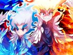 2boys angry artist_name beyblade beyblade:_burst blue_fire blue_hair chankyone character_name eyeshadow fiery_hair fire formal makeup md5_mismatch multiple_boys powering_up redhead scarf shirosagi_lui suit violet_eyes wide-eyed