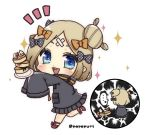 ... 1girl :d abigail_williams_(fate/grand_order) bangs black_bow black_jacket blonde_hair blue_eyes blush bow chibi commentary_request crossed_bandaids eyebrows_behind_hair fate/grand_order fate_(series) food hair_bow hair_bun heroic_spirit_traveling_outfit holding holding_plate jacket long_hair long_sleeves multiple_views open_mouth orange_bow outstretched_arms pancake parted_bangs plate polka_dot polka_dot_bow popo_(popopuri) red_footwear shoes simple_background sleeves_past_fingers sleeves_past_wrists smile sparkle spill spoken_ellipsis stack_of_pancakes standing standing_on_one_leg twitter_username upper_teeth white_background