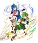 3girls bangs blue_eyes blue_hair catria_(fire_emblem) est_(fire_emblem) fire_emblem fire_emblem:_mystery_of_the_emblem fire_emblem_heroes full_body green_eyes green_hair hanekoto headband highres long_hair multiple_girls official_art palla_(fire_emblem) pink_hair polearm short_hair siblings sisters spear transparent_background weapon younger
