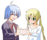 1boy 1girl ayasaki_hayate blonde_hair blue_hair blush butler closed_eyes commentary_request formal green_eyes hata_kenjirou hayate_no_gotoku! heart heart_hands heart_hands_duo highres long_hair looking_at_another sanzen'in_nagi shirt simple_background smile string_tie suit twintails white_background white_shirt