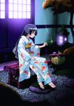 1girl commentary_request hata_kenjirou hayate_no_gotoku! highres japanese_clothes kimono long_hair mosquito_coil saginomiya_isumi sandals sitting solo tree