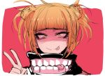 1girl :p bangs blonde_hair blunt_bangs boku_no_hero_academia closed_mouth double_bun j.k. looking_at_viewer red_background sanpaku simple_background smile solo toga_himiko tongue tongue_out v yellow_eyes