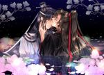 2boys blonde_hair elemental hair_ribbon hand_up headband kiss long_hair male_focus mo_dao_zu_shi multiple_boys petals red_ribbon reflection ribbon wangji_lan water white_headband wuxian_wei