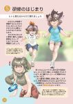 3girls absurdres beige_shorts bird_girl bird_tail blonde_hair blue_eyes blue_shirt blue_shorts bracelet can clothes_around_waist cosplay elephant_ears elephant_girl eyebrows_visible_through_hair feather_hair_ornament feathers greater_roadrunner_(kemono_friends) greater_roadrunner_(kemono_friends)_(cosplay) green_eyes green_hair green_shirt grey_hair hair_ornament head_wings highres jacket jacket_around_waist japari_symbol jewelry kemono_friends multicolored_hair multiple_girls original red_jacket redhead running shirt shoes short_hair short_shorts shorts sleeveless sneakers soda_can tail tank_top toki_reatle track_jacket translation_request two-tone_shirt wall_of_text white_shirt yellow_eyes