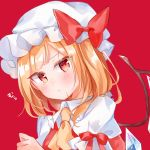 1girl :< bangs blonde_hair blush bow closed_mouth collared_shirt crystal eyebrows_visible_through_hair flandre_scarlet hand_up hat highres long_hair mob_cap moko_(3886397) one_side_up puffy_short_sleeves puffy_sleeves red_background red_bow red_eyes red_vest shirt short_sleeves simple_background solo touhou translation_request upper_body vest white_headwear white_shirt wings yellow_neckwear