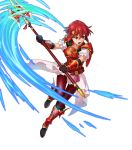 1girl armor armored_boots bangs boots fire_emblem fire_emblem:_mystery_of_the_emblem fire_emblem_heroes full_body highres holding holding_weapon indesign minerva_(fire_emblem) official_art polearm red_footwear redhead short_hair skirt spear transparent_background weapon younger