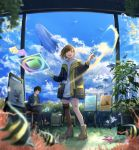 1boy 1girl :d angelfish animal black_jacket blue_shorts blue_sky blurry boots brown_hair brown_legwear canvas_(object) clouds cloudy_sky day depth_of_field fantasy fish holding hood hoodie jacket leg_ribbon looking_at_viewer mismatched_legwear open_clothes open_jacket open_mouth original paintbrush painting plant potted_plant ribbon sakeharasu short_hair short_shorts shorts single_sock single_thighhigh sky smile socks standing sunlight thigh-highs whale