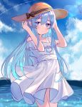 1girl alternate_costume blue_eyes blue_sky clouds condensation_trail cowboy_shot day dress hat hibiki_(kantai_collection) highres horizon kantai_collection long_hair looking_at_viewer mountain moyasi3409854 ocean outdoors silver_hair sky solo standing sun_hat sundress white_dress