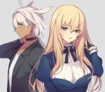 1boy 1girl blonde_hair blue_eyes breasts caenis_(fate) dark_skin dress fate/grand_order fate_(series) formal frills genderswap genderswap_(ftm) genderswap_(mtf) hair_intakes hand_in_hair kirschtaria_wodime large_breasts long_hair suit vivi_(eve_no_hakoniwa)