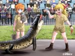 2girls :d animal ankle_boots bangs black_footwear black_legwear blonde_hair blue_eyes blunt_bangs boots brown_shirt brown_shorts buckle closed_mouth collared_shirt commentary cosplay crocodile crocodilian crowd english_commentary feeding fence food girls_und_panzer grass green_eyes hair_ribbon headset holding holding_animal kamonohashi_(girls_und_panzer) koala looking_at_another meat medium_hair messy_hair multiple_girls open_mouth orange_hair ponytail red_ribbon ribbon shirt short_hair short_sleeves shorts smile socks standing steve_irwin steve_irwin_(cosplay) twitter_username voccu wallaby_(girls_und_panzer) watch watch