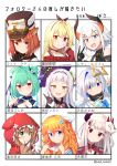 6+girls absurdres amane_kanata angel_wings bangs bare_shoulders basa_rutan black_gloves black_headwear blonde_hair blue_dress blue_eyes blue_hair blunt_bangs blush braid brown_hair commentary demon_horns double_bun dress gloves goggles goggles_on_headwear green_eyes green_hair hair_ornament hair_ribbon halo hat head_scarf headwear_removed heterochromia highres hololive hood hood_up horns hoshikawa_sara levi_elipha licking_lips long_hair long_sleeves looking_at_viewer mask mask_on_head multicolored_hair multiple_girls murasaki_shion naraka_(nijisanji) nijisanji one_side_up oni_horns orange_eyes orange_hair otogibara_era profile ratna_petit red_eyes red_panda_ears red_sweater ribbon sharp_teeth short_hair side_ponytail silver_hair simple_background smile sweater teeth tilted_headwear tongue tongue_out translated twin_braids two-tone_hair uruha_rushia v virtual_youtuber warabeda_meijii white_background white_hair wings witch_hat x_hair_ornament yellow_eyes