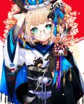 1girl 2018 animal_ears aqua_eyes arm_up arrow bangs black-framed_eyewear blonde_hair brown_gloves chinese_zodiac crown dog dog_ears dog_tail eyebrows_visible_through_hair glasses gloves grin hair_ornament hair_rings hamaya hand_on_headwear head_tilt holding japanese_clothes kimono long_sleeves looking_at_viewer nengajou new_year obi original parted_lips puppy round_eyewear sash short_hair smile sogawa solo star star_hair_ornament tail upper_body wide_sleeves year_of_the_dog