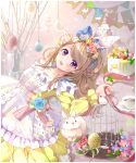 1girl :d animal_ears apron arm_up bangs bird birdcage blue_flower blue_rose braid brown_hair cage cake commentary_request cup dress easter easter_egg egg fake_animal_ears fingernails flower food french_braid fruit gradient gradient_background hair_flower hair_ornament hairband hand_on_own_head highres holding holding_ribbon lemon lolita_hairband long_hair long_sleeves looking_at_viewer lying on_back open_mouth original partial_commentary petticoat pink_background pink_flower pink_rose puracotte rabbit ribbon rose saucer smile streamers swept_bangs teacup tree_branch vase very_long_hair violet_eyes yellow_dress