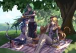 3girls absurdres animal_ears arknights bangs bare_shoulders black_headwear black_shirt blanket blonde_hair blue_hair ch'en_(arknights) dragon_horns drill_hair eyebrows_visible_through_hair food fork grass green_eyes green_hair hair_between_eyes hat highres horn horns hoshiguma_(arknights) long_hair multiple_girls necktie oni_horn outdoors pastry picnic picnic_basket red_eyes shirt shorts sidelocks sitting sleeveless swire_(arknights) tail tangniji tiger_ears tiger_tail tree twintails under_tree very_long_hair white_shirt yellow_eyes