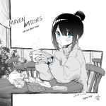 1girl absurdres artist_name basket blue_eyes blush bowl bush chair commentary company_name cup dated fence food glass hair_bun highres holding holding_cup imouto_no_tomodachi_ga_nani_kangaeteru_no_ka_wakaranai long_bangs long_sleeves mug napkin oversized_clothes rayrei1414 round_table signature sitting spot_color sweater teapot tsuyu-chan turtleneck watch watch white_background