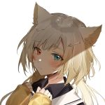 1girl animal_ears aqua_eyes arknights black_shirt blonde_hair blush cat_ears chinese_clothes closed_mouth eyebrows_visible_through_hair glint hair_ornament hairclip hands_on_own_chest heterochromia light long_hair looking_at_viewer meng_ziya red_eyes ribbed_sweater sailor_collar shade shirt simple_background sleeves_past_wrists solo sweater twintails upper_body white_background yellow_sweater