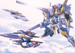 aircraft airplane akamiho beam_cannon clouds commentary_request core_fighter energy_gun fighter_jet flying gundam jet lens_flare mecha military military_vehicle no_humans partial_commentary robot shield sun twitter_username v2_gundam victory_gundam weapon