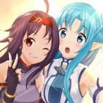2girls :o ;) ahoge armpits asuna_(sao) asuna_(sao-alo) blue_eyes blue_hair blush breastplate detached_sleeves fingerless_gloves gloves highres long_hair multiple_girls multiple_views nyanmaru one_eye_closed open_mouth pointy_ears purple_hair red_eyes smile sword_art_online upper_body v yuuki_(sao)