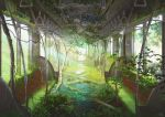 blurry blurry_background commentary_request day depth_of_field mocha_(cotton) no_humans original plant ruins scenery signature train_interior tree water